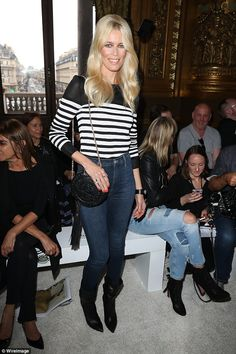 Say it in stripes: The social butterfly attended the Balmain SS18 show later that day