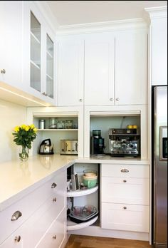 Coffee Nook Corner Cabinet Kitchen With Pantry Lazy Susan
