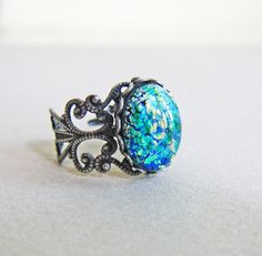 Fire Opal Ring Emerald Green Ring The Great Gatsby Jewelry Gothic Ring Lord of the Rings by Jewelsalem