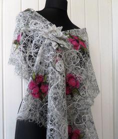 Graue handgemachte Schal durchbrochenen Schal für Frauen / /