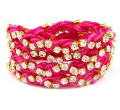 Ettika Fuschia Ribbon on Gold Rhinestone Wrap Tennis Bracelet Ribbon Bracelets, Ribbon Jewelry, Pink Jewelry, Beaded Bracelets, Bold Jewelry, Gold Rhinestone, Rhinestone Jewelry, Everything Pink, Man