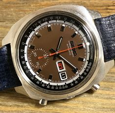 "1969 Seiko 6139-6020 Automatic Chronograph ""Pulsations"" Dark Navy Blue, Beautiful Watches, Distressed Leather, Seiko, Omega Watch, Chronograph, Color Pop, Two By Two, Colour Pop"