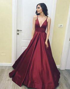 Simple v neck long prom dress, cheap evening dress,BD2406