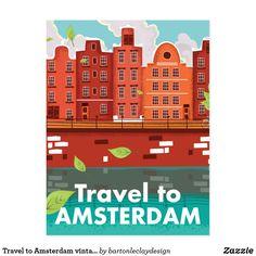 Travel to Amsterdam vintage poster Postcard