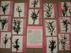 Artolazzi: Japanese Cherry Trees :lovely mini cherry trees by blowing paint around with a straw