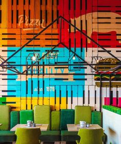 Green Villa Pizza Café by LEFT, Krasnoyarsk   Russia  cafe bar  Painted Crates with imagery
