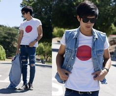 Spray Painted Diy Japan Shirt, Studded Bracelet, Studded Belt, Forever 21 Diy Torn Jeans, Diy Denim Vest, Converse Allstars