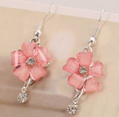 9k White Gold Filled 13mm Pink Flower Earrings Drop Dangle Hook  #DropDangle