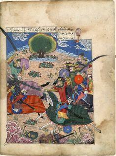 Scène de bataille  Ferdowsi, Shâhnâmeh (Le Livre des rois)  Chirâz (Iran), 1444.  Papier, 671 f., 38,5 × 27,5 cm  BnF, département des Manuscrits, supplément persan 494, f. 30 v°