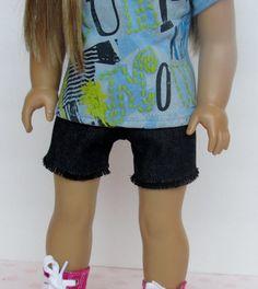 Black Denim Shorts American Girl Doll by HerDollEssentials