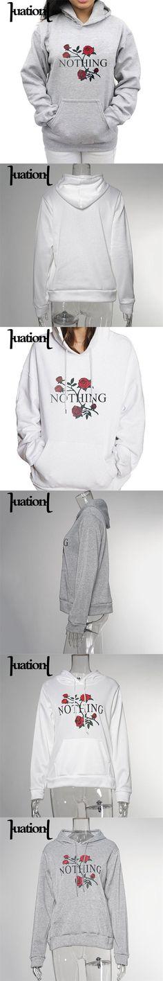 Autumn Winter Casual Hoodies Women Long Sleeve Hoody Rose Flower Printed Tracksuit Pullover Sweatshirts sudaderas mujer XGL00225