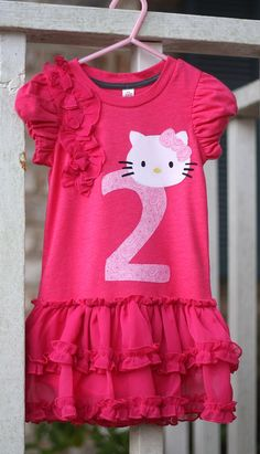 Hello Kitty Dress for Birthday Girl - Sweet Pink and Ruffles 5T