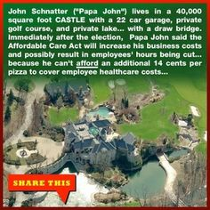 Besides simply being mean, John Schmatter's [@IAmPapaJohn] threat to cut back employee hours so as not to fall under the requirements of the Affordable Care Act, means having food preparers and servers without access to healthcare.  I imagine a lot of people will see that as a public health issue.