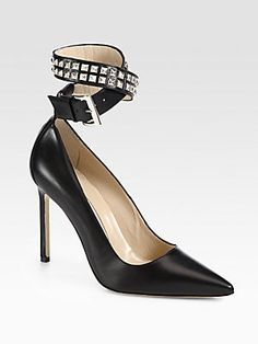 b8782c0b28e Manolo Blahnik - Belta Studded Leather Ankle-Strap Pumps