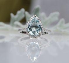 2.8ct Ocean seafoam blue green pear sapphire by EidelPrecious, $3500.00