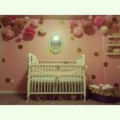 My baby girl's nursery.  2 weeks until she arrived!  My sweet mother made the burlap crib skirt and ruffle detail for antique galvanized tub filled with diapers. Pom poms hanging from ceiling. #BabyRuettinger