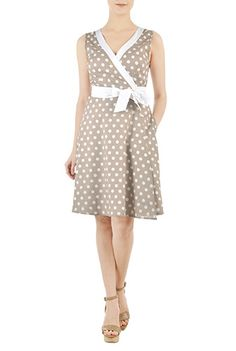 42667ffd78 Colorblock polka dot cotton wrap dress