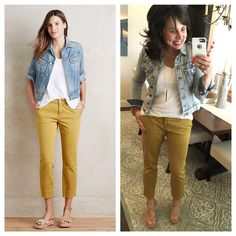 Great spring outfit!  Mustard pants, white tee, MUST HAVE jacket, and cork wedges!