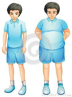 Un garçon mince et gros dans un uniforme bleu de gymnase
