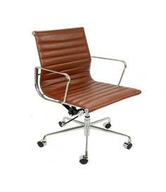 Eames Style EA117 Low Back Ribbed Leather Office Chair - Vintage Brown tan leather