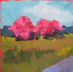 """Cherry Blossoms by Carol Maguire Oil ~ 24"""" x 24"""""""