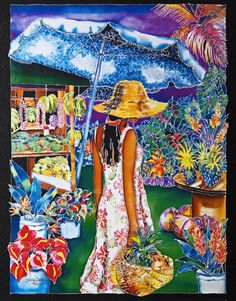 Tropical Delight by Susan Patricia - Giclee on Canvas Polynesian Art, Puzzle Art, Luminous Colours, Painting People, Tropical Art, Happy Art, Island Girl, Colorful Paintings, Silk Painting
