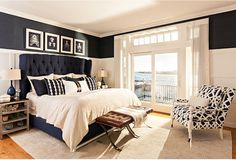 Navy and white bedroom. Navy and white bedroom decor. Navy and white bedroom design. Beach house with Navy and white bedroom. Classic Navy and white bedroom. Navy and white master bedroom. Casabella Home Furnishings & Interiors. Home Decor Bedroom, White Bedroom, Bedroom Trends, Bedroom Decor, Bedroom Color Schemes, Bedroom Colors, Home, White Bedroom Design, Blue Bedroom