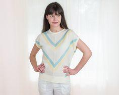 Vintage 1980s Knit Shirt 80s Pastel Chevron Striped by DeLaBelle, $27.00