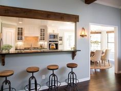Ideas Farmhouse Living Room Fixer Upper Joanna Gaines For 2019 Open Kitchen And Living Room, Semi Open Kitchen Design, Design Kitchen, Load Bearing Wall, Decoration Inspiration, Dining Room Walls, Living Walls, Living Rooms, Fixer Upper