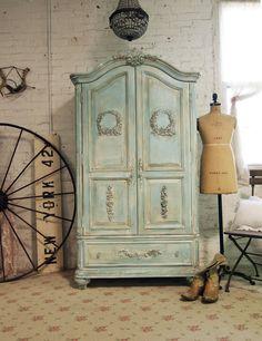 Painted Cottage Chic Shabby Aqua Romantic Armoire AM239. $1,295.00, via Etsy.