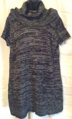 Elementz 1X sweater mini dress short sleeve black With Gray Metallic Threads #Elementz #minisweaterdress