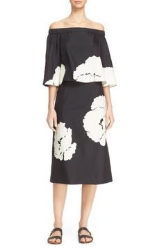 Tibi Amara Floral Print Off the Shoulder Silk Dress ($545)