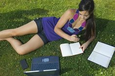 College Student studying in park with Laptop Work from home and advertise for us. Great opportunity to make a full time income working part time. Student Studying, College Students, Study Habits, Earn More Money, Money From Home, Laptop, Opportunity, Park, Photography