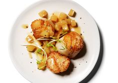 Scallops with Apple Pan Sauce. I made this tonight and ended up licking the plate. AMAZING!