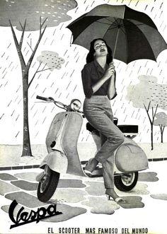 Vespa in the rain Moto Scooter, Vespa Ape, Lambretta Scooter, Vespa Scooters, Piaggio Vespa, Vintage Vespa, Vintage Ads, Vogue Vintage, Vintage Quotes