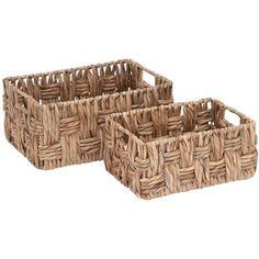 Decmode Metal Wicker Basket, Set of 2, Multi Color, Multicolor