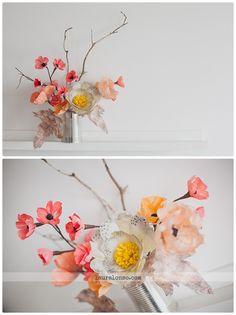flores de papel, paper flowers, spring deco, wedding bouquet, ramo de novia, amapolas