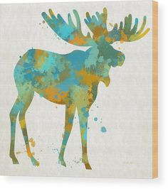 Moose Watercolor Art Wood Print by Christina Rollo.  All wood prints are professionally printed, packaged, and shipped within 3 - 4 business days and delivered ready-to-hang on your wall. Choose from multiple sizes and mounting options.