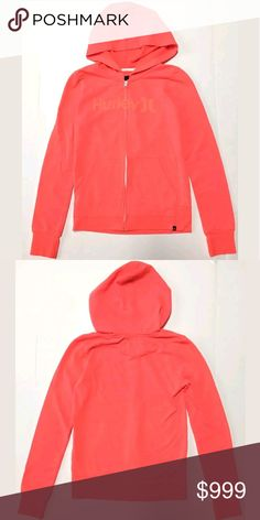 Hurley Women's Full Zip Hoodie HURLEY Full Zip Hoodie  Condition: pre-owned Size: Small Color: Orange Product Details:   Very Good condition- light pilling  Full front zip Lightweight Fleece pouch pockets Front Orange Hurley Logo Hoodie Hurley Tops Sweatshirts & Hoodies
