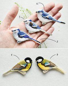 Десять синиц! Броши, ручная вышивка хлопком, шерстью, бисером, крепления с серебрением. Размер 65-70 мм в длину 10 tits-birds brooches) Hand embroidery, cotton and wool threads, glass beads, clasps with silvering 65-70 mm ◾ #embroidery #handembroided #handwork #handembroidery #broderie #ricamo #bordado #lerapetunina #birds #вышивка #ручнаявышивка
