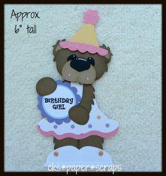 Birthday Girl Bear Scrapbook Paper Piecing