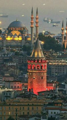 A gorgeous city with its Galata Tower and Sultan Ahmet Mosque Istanbul, Turkey Istanbul City, Istanbul Travel, Hagia Sophia, Places Around The World, Around The Worlds, Visit Turkey, Blue Mosque, Turkey Travel, Turkey Vacation
