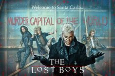 'Welcome To Santa Carla' by Neil Davies, a anniversary tribute to 'The Lost Boys'. sized print on high quality semi-gloss photo paper, in Red, Blue and Black editions for each. Lost Boys Movie, The Lost Boys 1987, I Movie, Movie Stars, Movie Poster Art, Film Posters, Kung Fu, Best Vampire Movies, Alex Winter