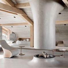 Solid wood yang digunakan sebagai bagian dari struktur sekaligus aksen kayu.
