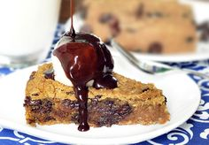 """Deep Dish Cookie Pie - For a """"healthy"""" dessert it was pretty good. it still had lots of calories and lots of sugar. I used 1 cup sugar and wouldn't like any less. With a scoop of low cal ice cream, none of my family suspected the garbanzos. Healthy Sweets, Healthy Dessert Recipes, Vegan Recipes, Fast Recipes, Drink Recipes, Healthy Foods, Yummy Recipes, Cookie Recipes, Recipies"""