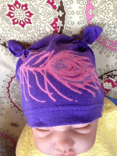 Newborn Purple Peacock Hat from up cycled Tshirts and bleach painted!  $12