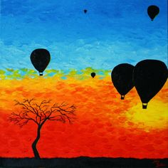"""""""Hot Air Balloon Festival"""" $70 original acrylics on box canvas painting  For sale: For sale:  http://www.etsy.com/shop/ArtworkbyJeni    https://www.facebook.com/artworkbyjeni  http://artworkbyjeni.wix.com/art/misc#!__misc"""