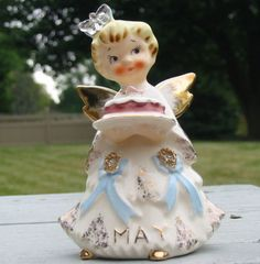 Vtg-Lefton-May-Angel-Mothers-Day-Cake-Figure-Rhinestone-Butterfly-Figurine-Old