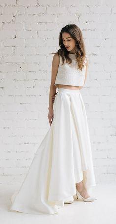 modern two piece crop top wedding dress