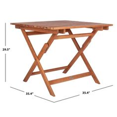 """SAFAVIEH Outdoor Living Kresler Folding Table - 35.4""""x35.4""""x29.5"""" - On Sale - Overstock - 29593358 Patio Dining, Patio Table, Outdoor Dining, Wooden Furniture, Outdoor Furniture, Outdoor Folding Table, 3 Piece Bistro Set, Drink Table, Cool Chairs"""